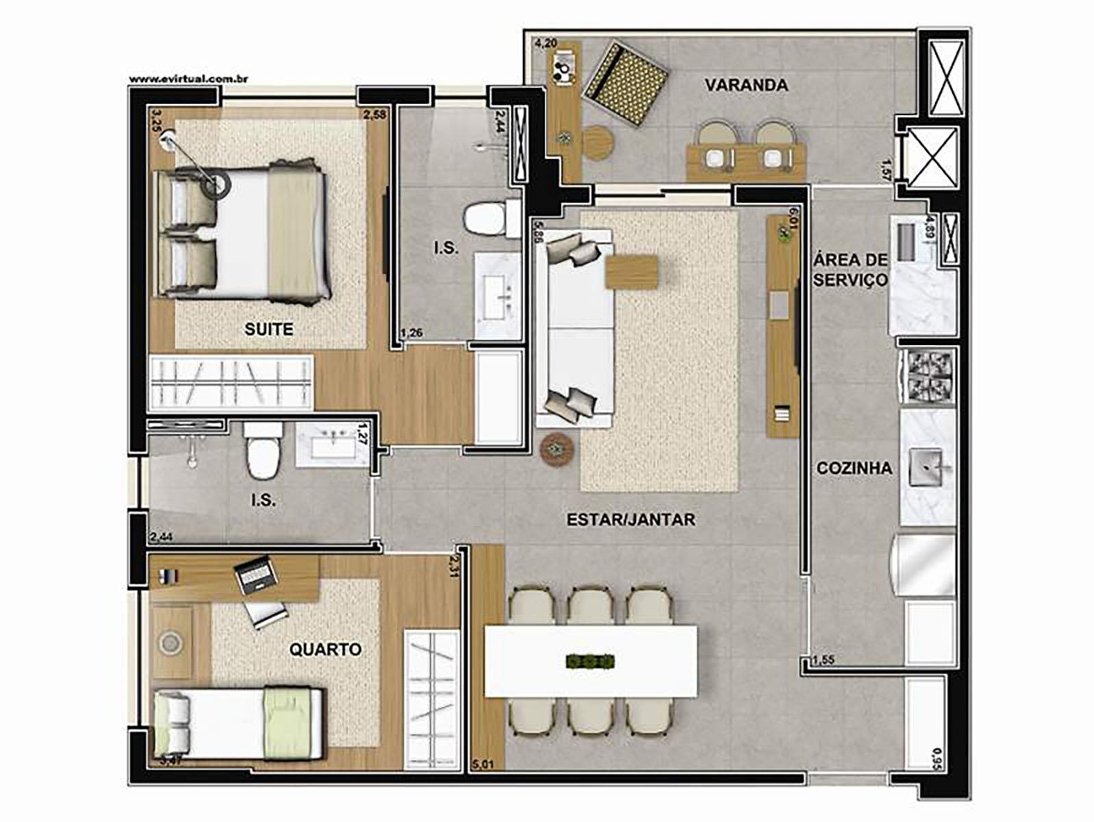 Ilustração Artística da Planta de 67 m² com 2 dorms. Vega to Live