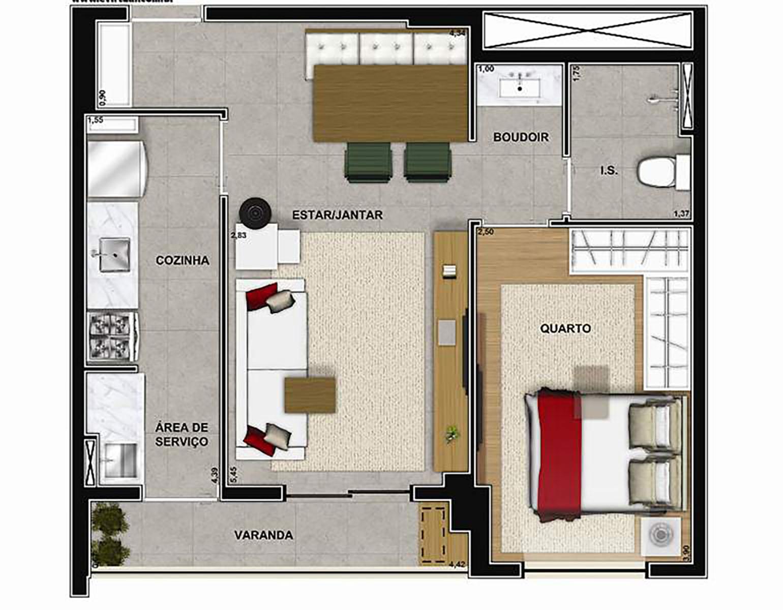 Ilustração Artística da Planta de 46 m² 1 Dorm Vega to Live
