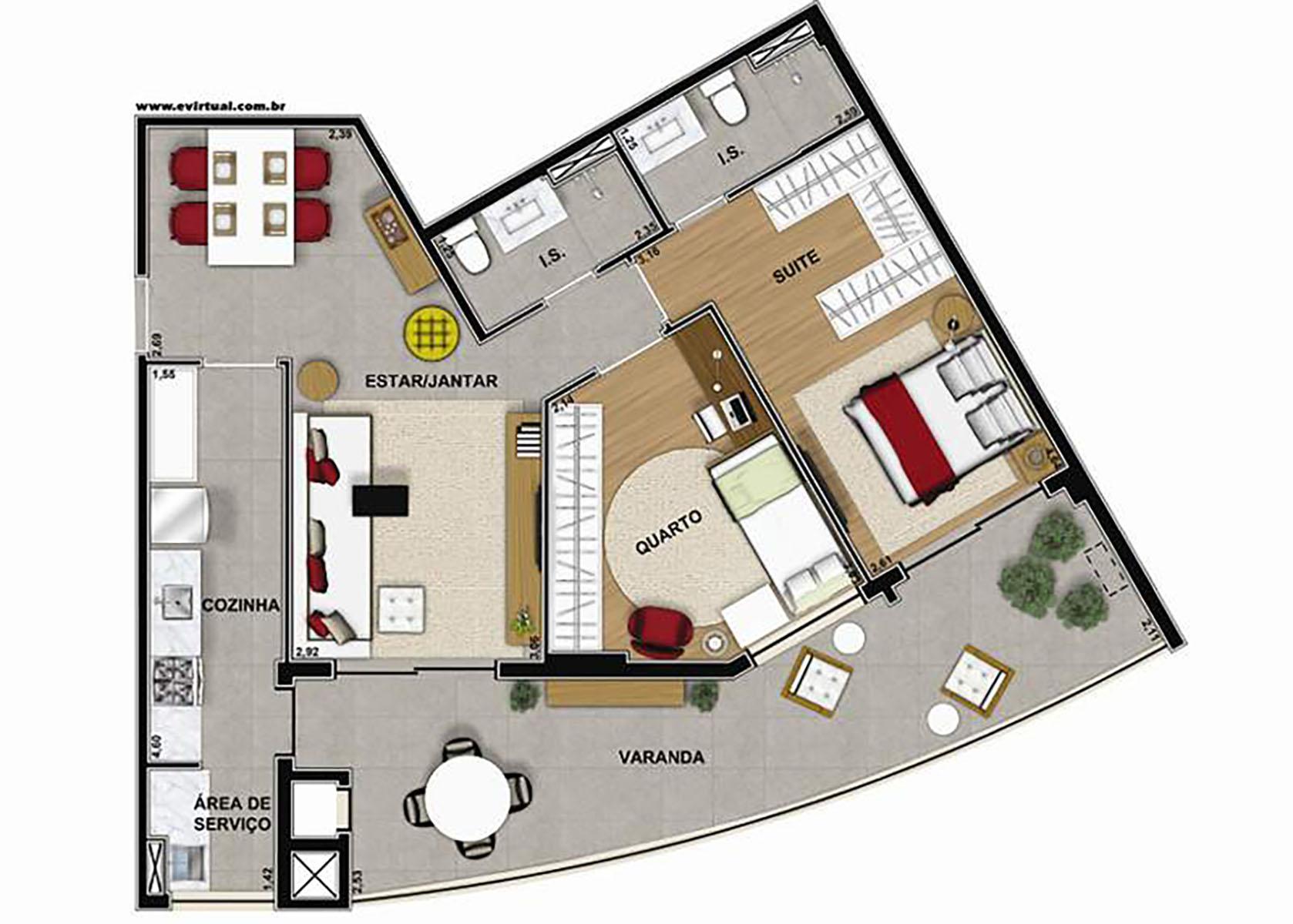 Ilustração Artística da Planta de 90 m² com 2 dorms Vega to Live