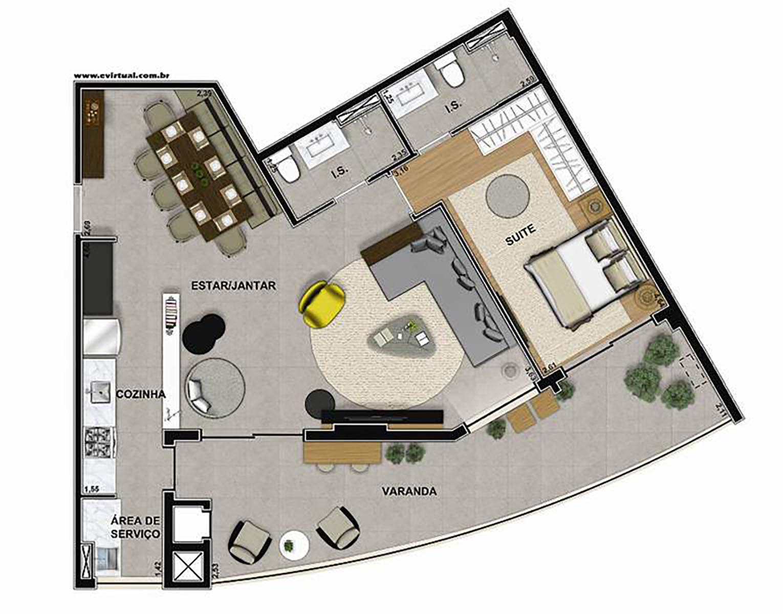 Ilustração Artística da Planta de 90 m² com 2 dorms e Sala Ampliada Vega to Live