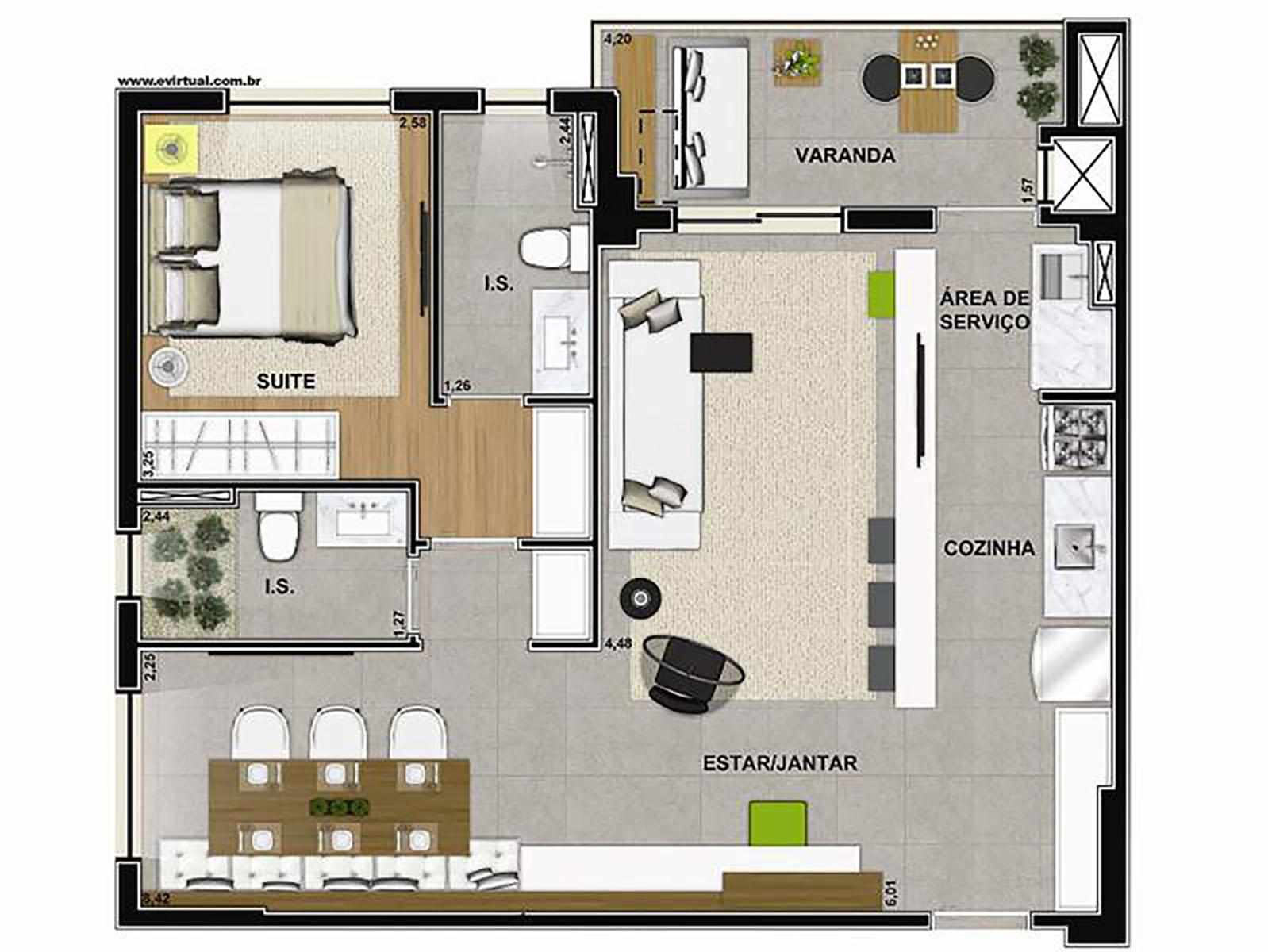 Ilustração Artística da Planta de 67 m² com 1 dorm. e Sala Ampliada Vega to Live