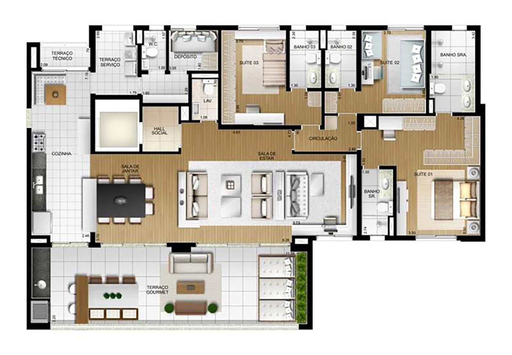 Ilustração Artística da Planta 212 m² tipo 1 Torre B The Parker