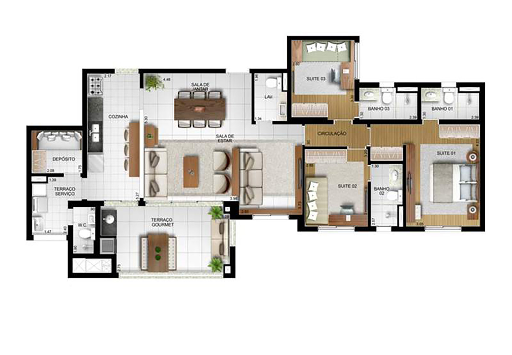 Ilustração Artística da Planta 134 m² tipo ! Torre A The Parker