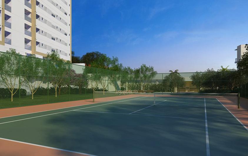 Perspectiva Ilustrada da Quadra de Tenis The Parker