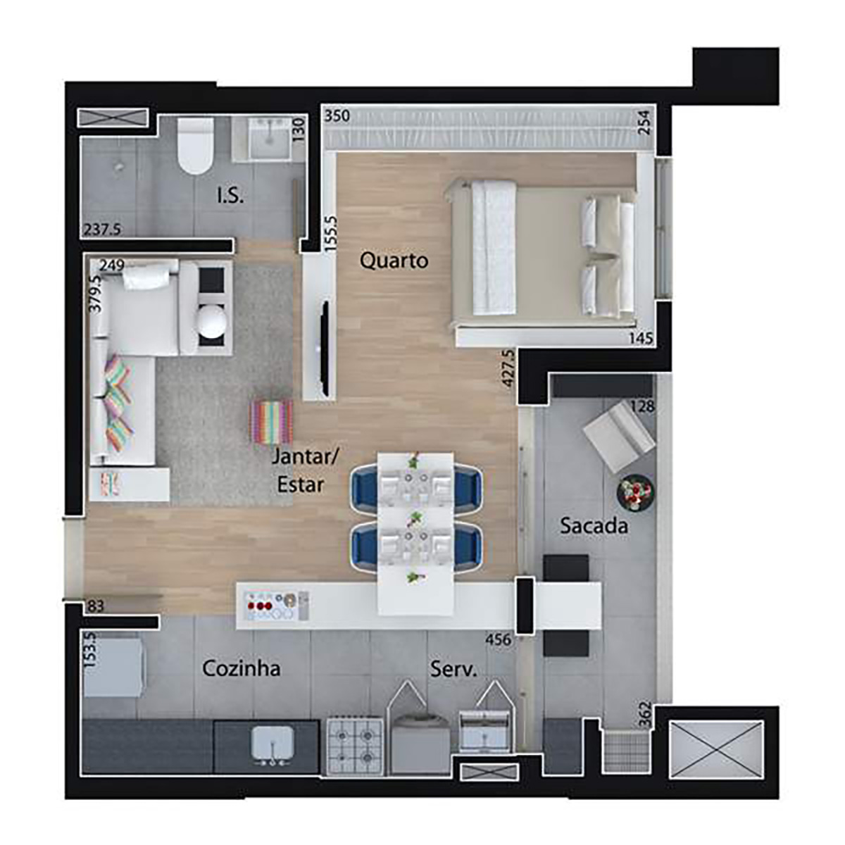 46 m² | 1 Dorm com sala ampliada Mid Home