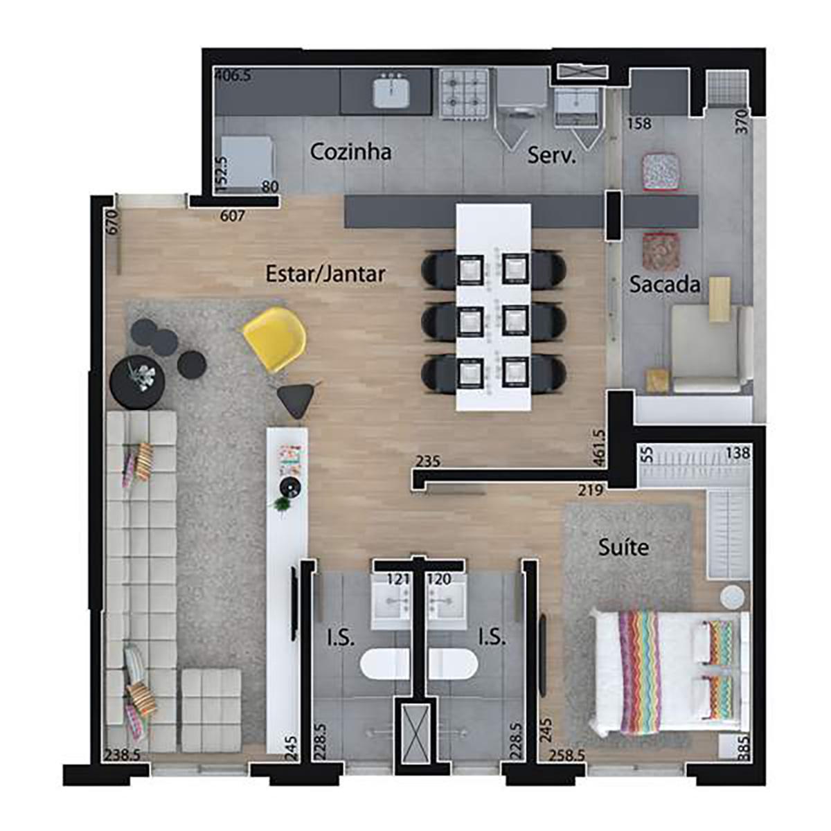 69 m² | 1 Dorm com Sala Ampliada Mid Home