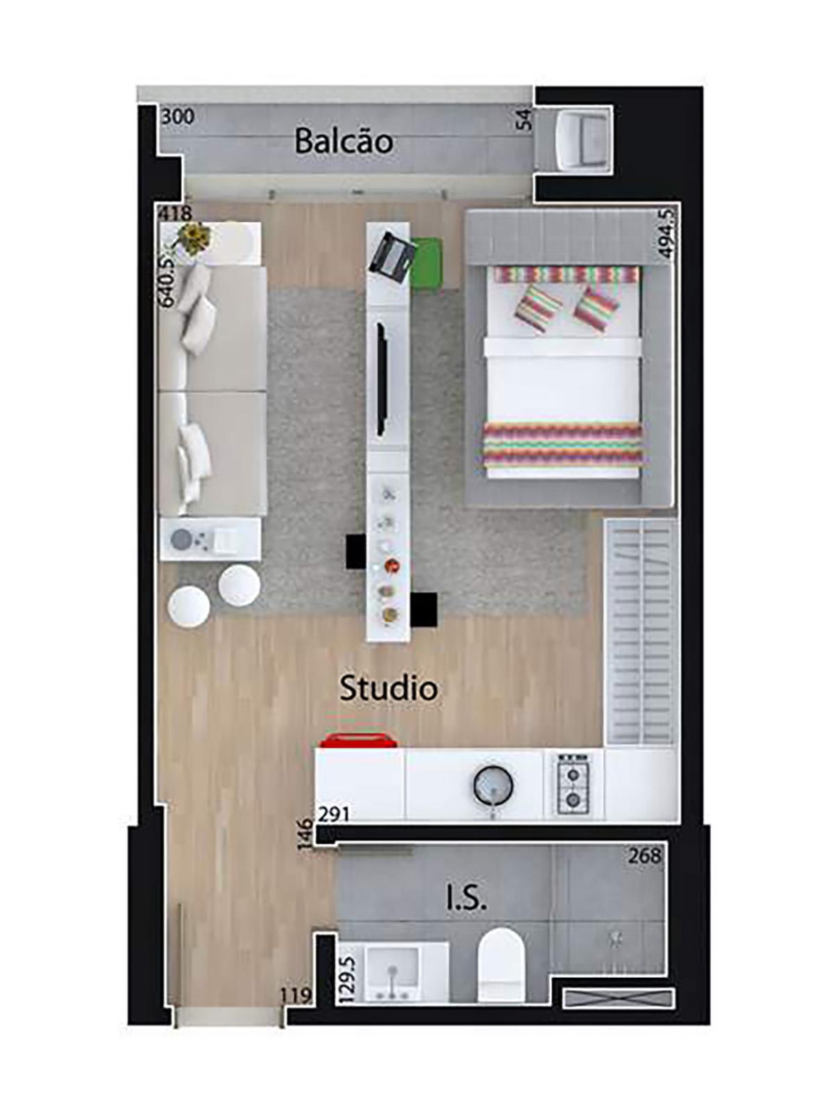 Studio 32 m² Mid Home