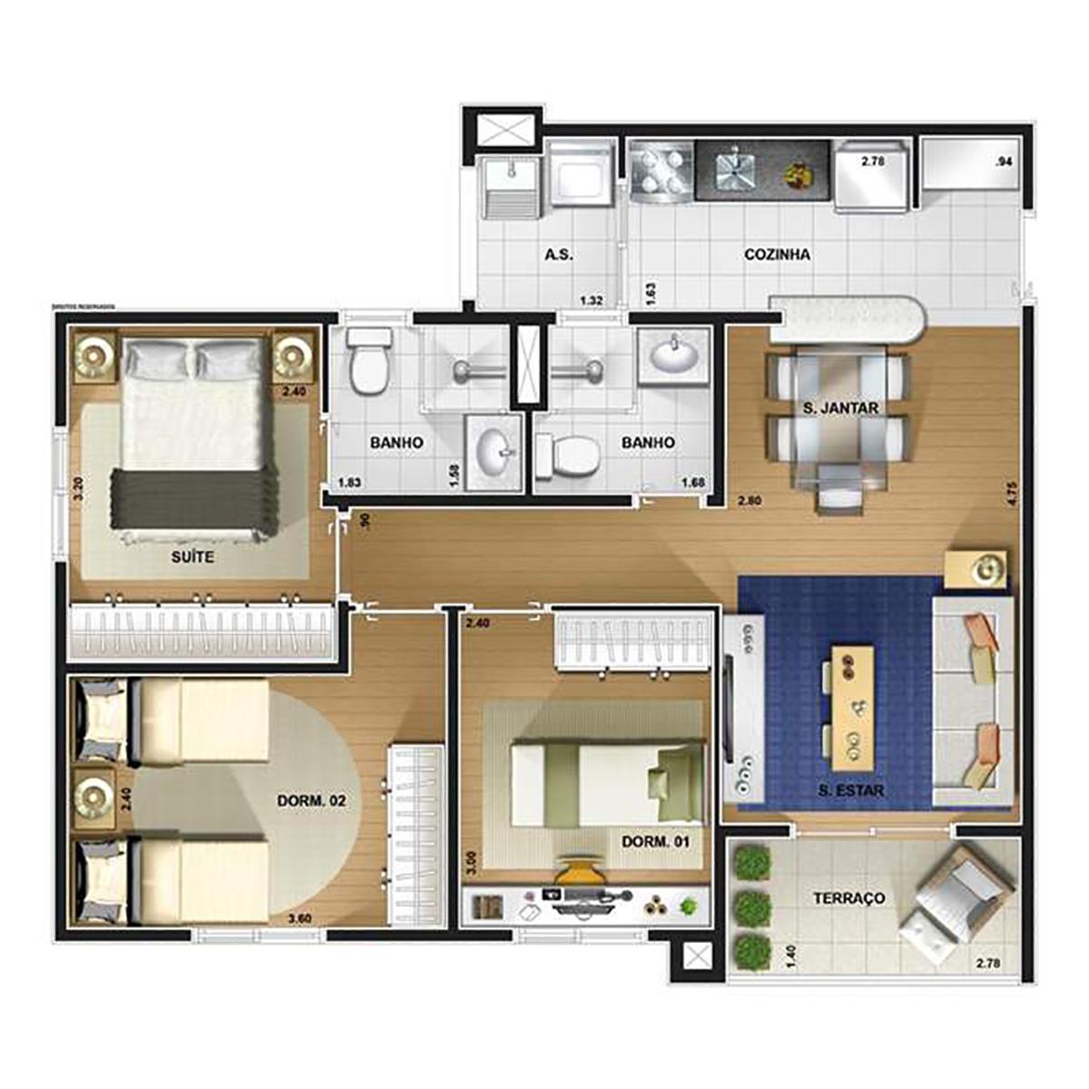 Ilustração Artística da Planta de 3 dorms 67 m² Interclube Parque Residencial