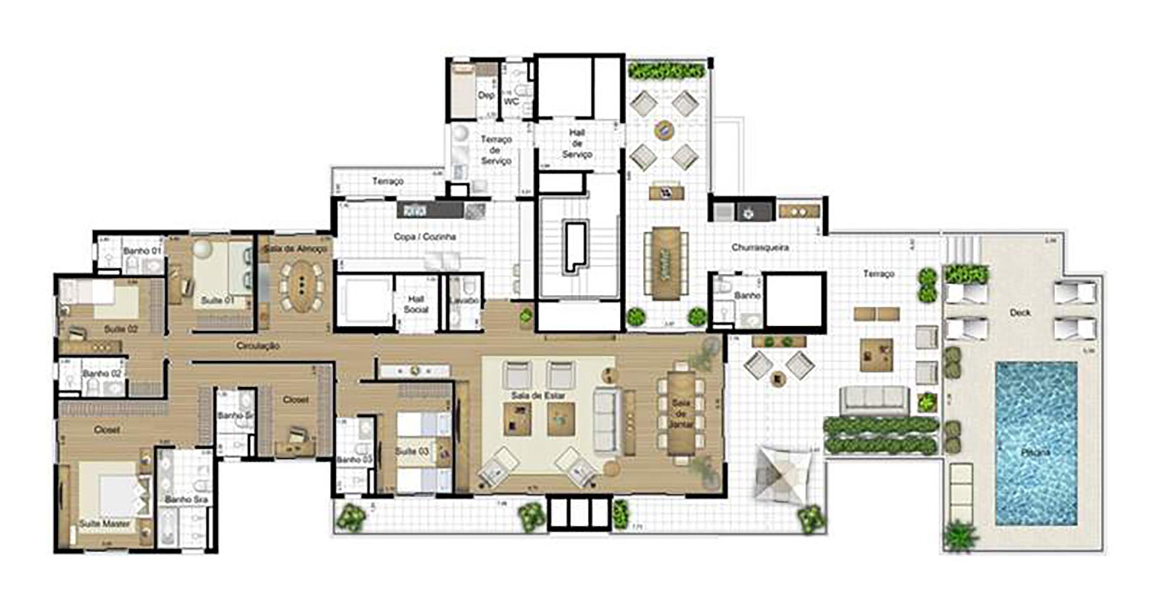 Ilustração Artística da Planta Penthouse 442 m² Águas de Março