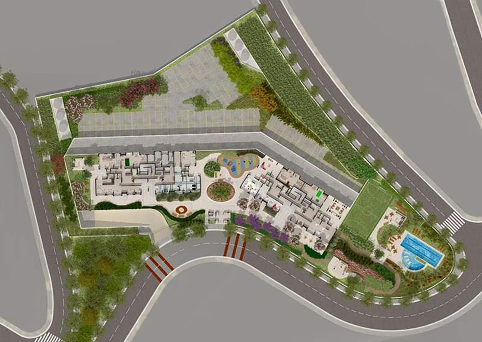 Ilustração Artística da Implantação Cores Jardim Sul - Azul