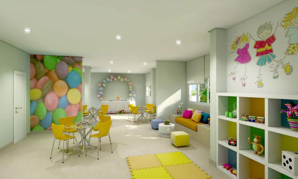 Perspectiva Ilustrada do Salão de Festas Infantil Cores Jardim Sul - Azul
