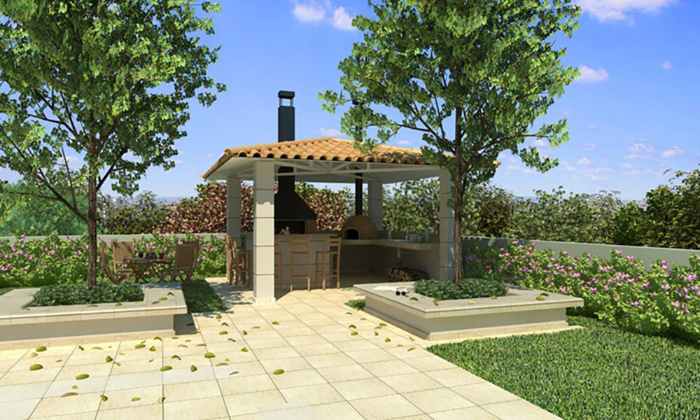 Perspectiva Ilustrada da Churrasqueira Cores Jardim Sul - Azul