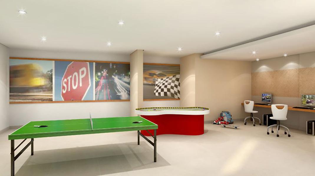 Perspectiva Ilustrada do Salão de Jogos Infantil Cores Jardim Sul - Azul