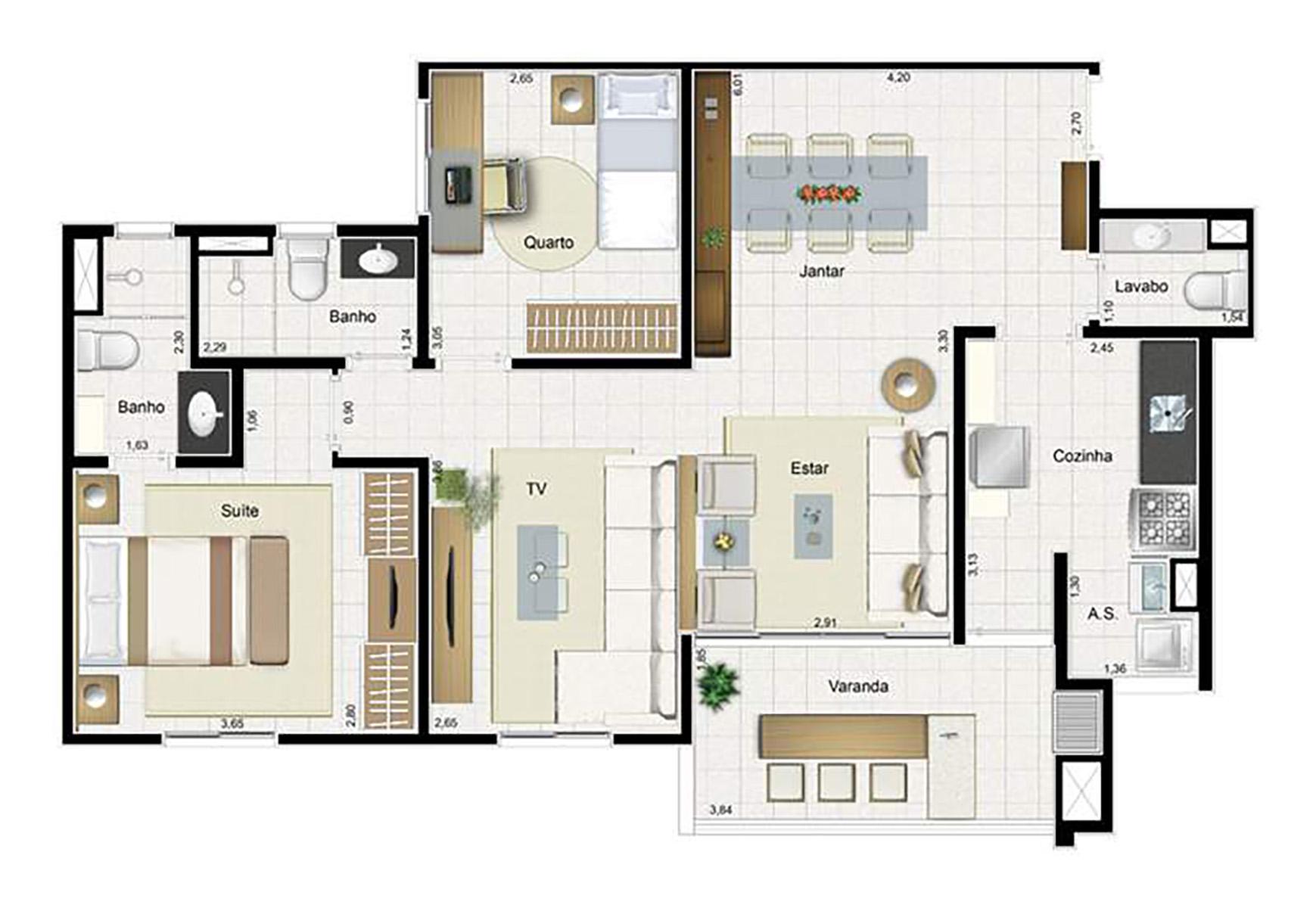 Ilustração Artística da Planta 85 m² tipo 2 Aqua Clube Residencial