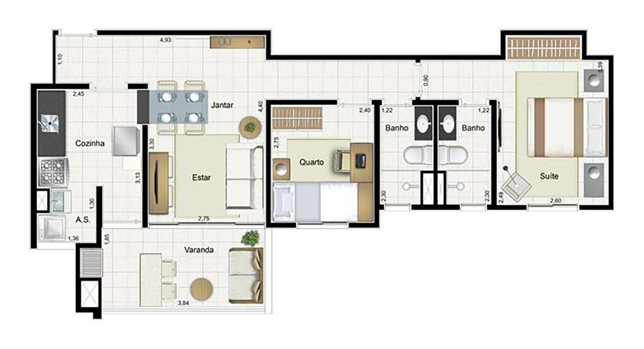 Ilustração Artística da Planta 67 m² tipo 1 Aqua Clube Residencial