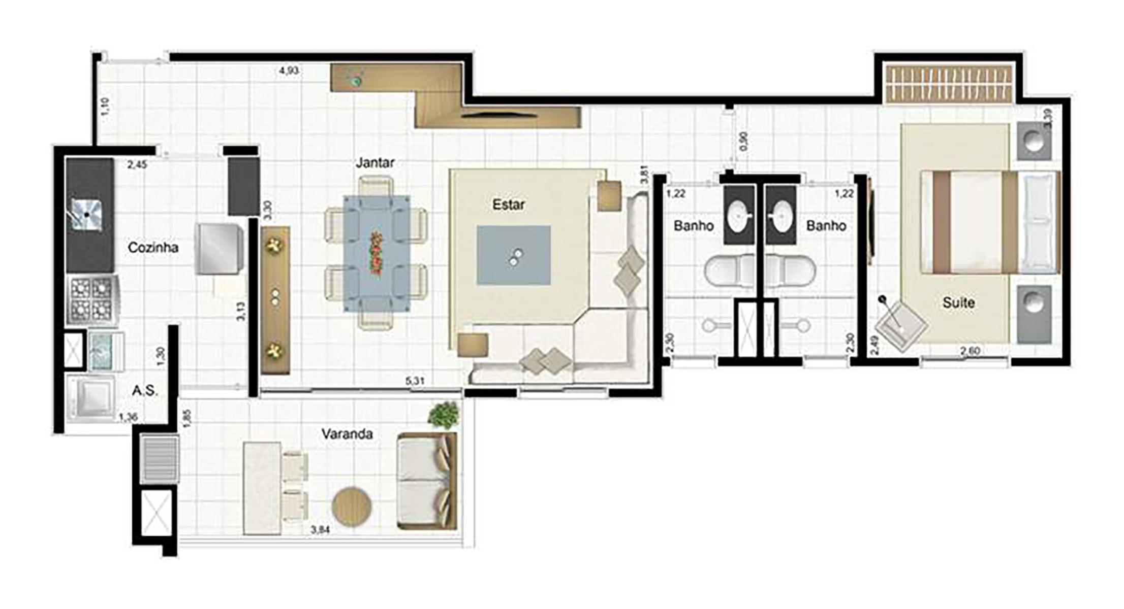 Ilustração Artística da Planta 67 m² tipo 2 Aqua Clube Residencial