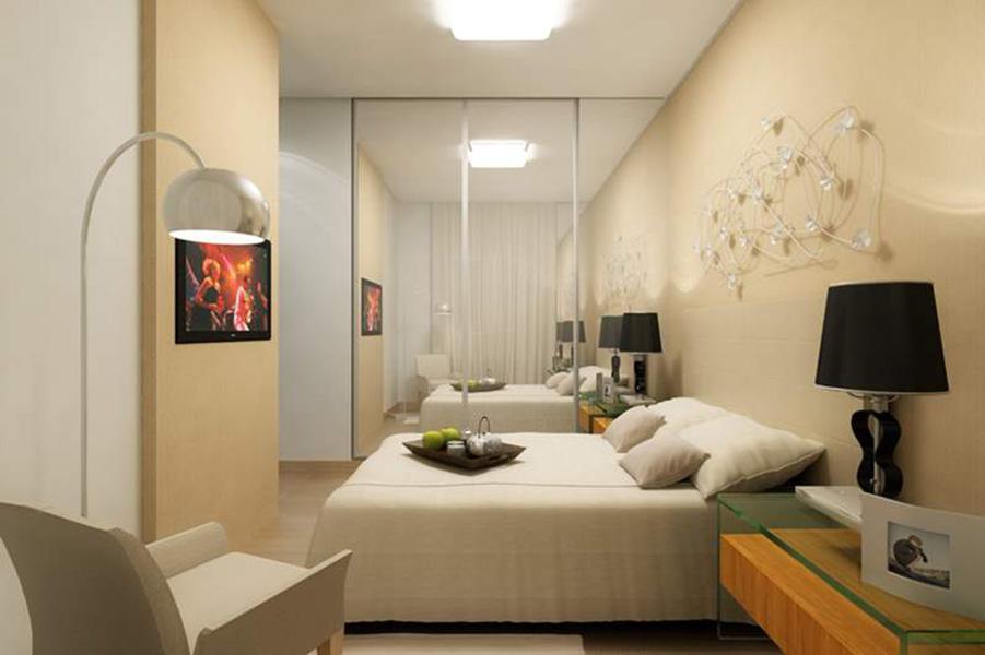 Perspectiva Ilustrada da Suíte - apto 67 m² Aqua Clube Residencial