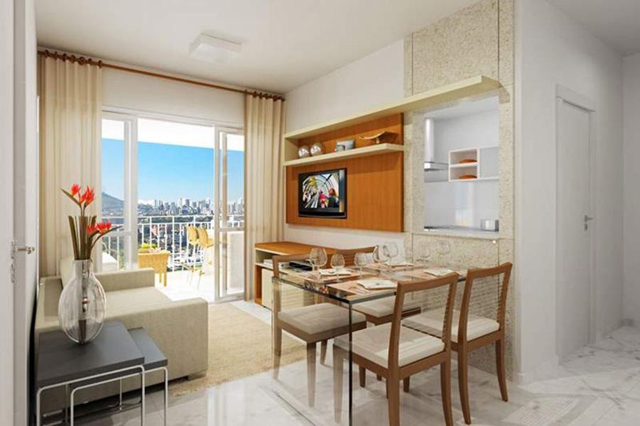 Perspectiva Ilustrada da Sala de estar - apto 67m² Aqua Clube Residencial