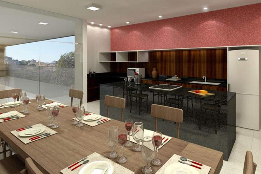 Perspectiva Ilustrada do Espaço Gourmet Aqua Clube Residencial