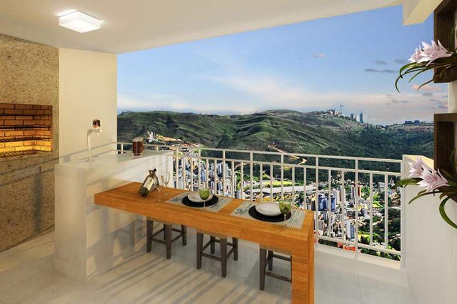 Perspectiva Ilustrada do Terraço - apto 85 m² Aqua Clube Residencial