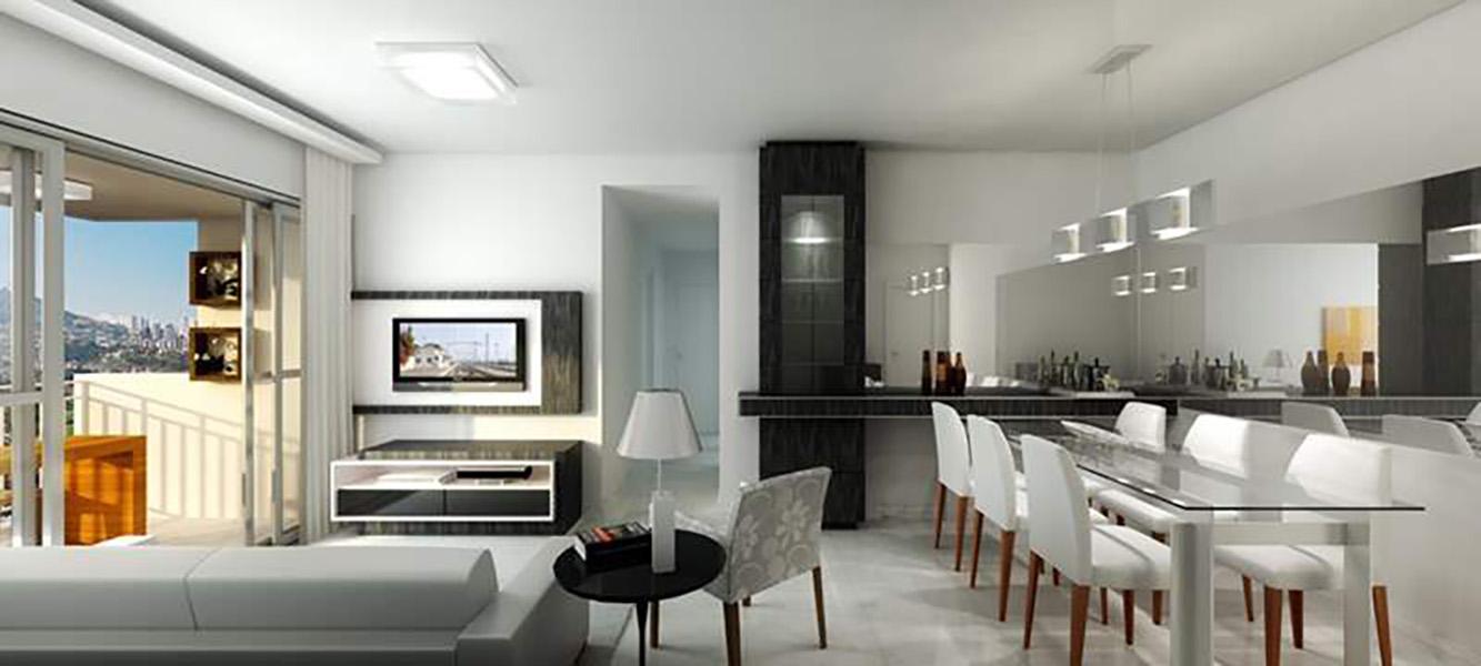 Perspectiva Ilustrada da Sala de estar - apto 85 m² Aqua Clube Residencial