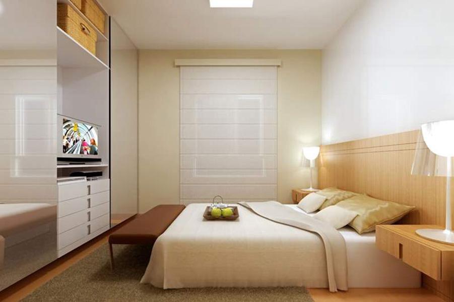 Perspectiva Ilustrada da Suíte - apto 85 m² Aqua Clube Residencial