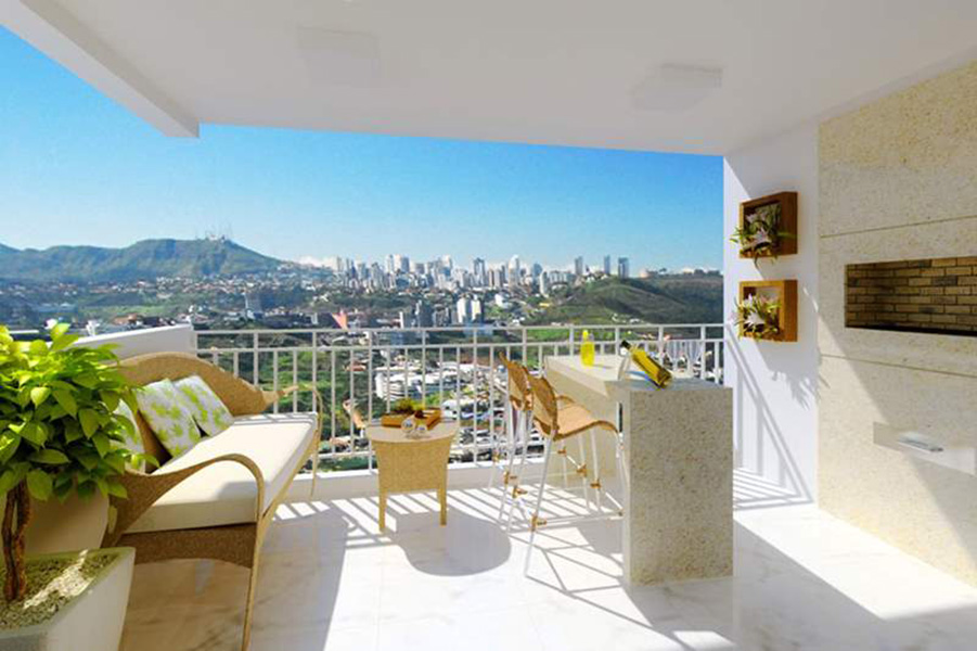 Perspectiva Ilustrada do Terraço - apto 67 m² Aqua Clube Residencial