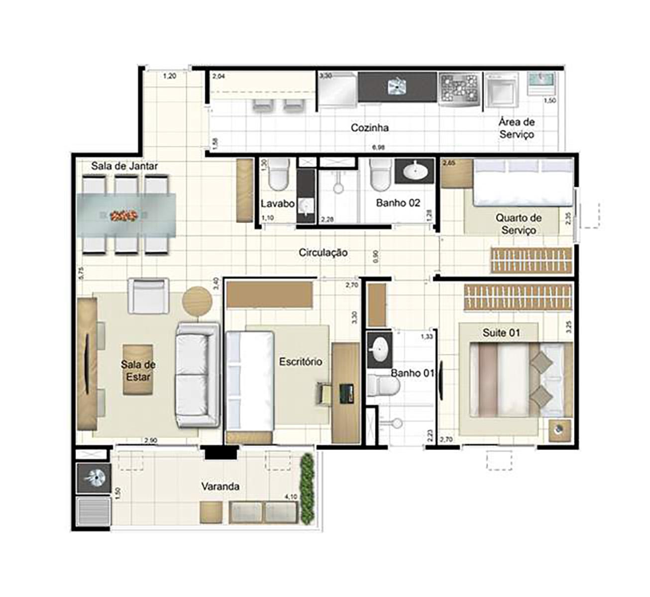 Ilustração Artística da Planta de 84 m² opção 2 Admira Iracaí