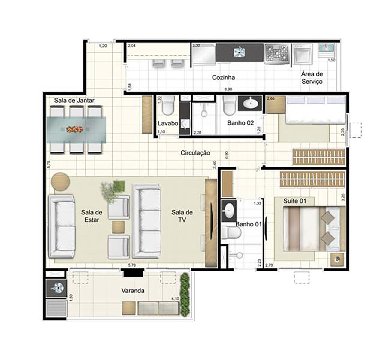 Ilustração Artística da Planta de 84 m² opção 1 Admira Iracaí