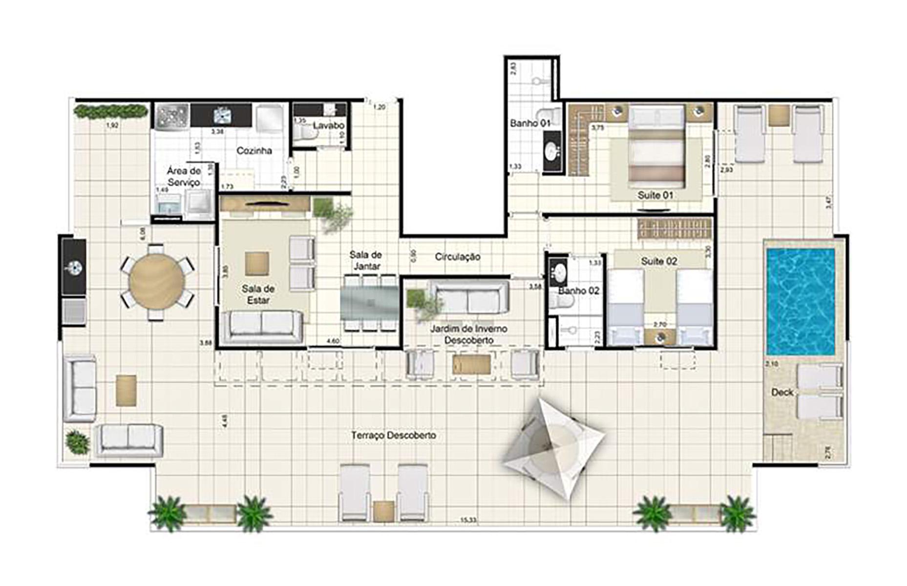 Ilustração Artística da Planta da Cobertura 210 m² Admira Iracaí