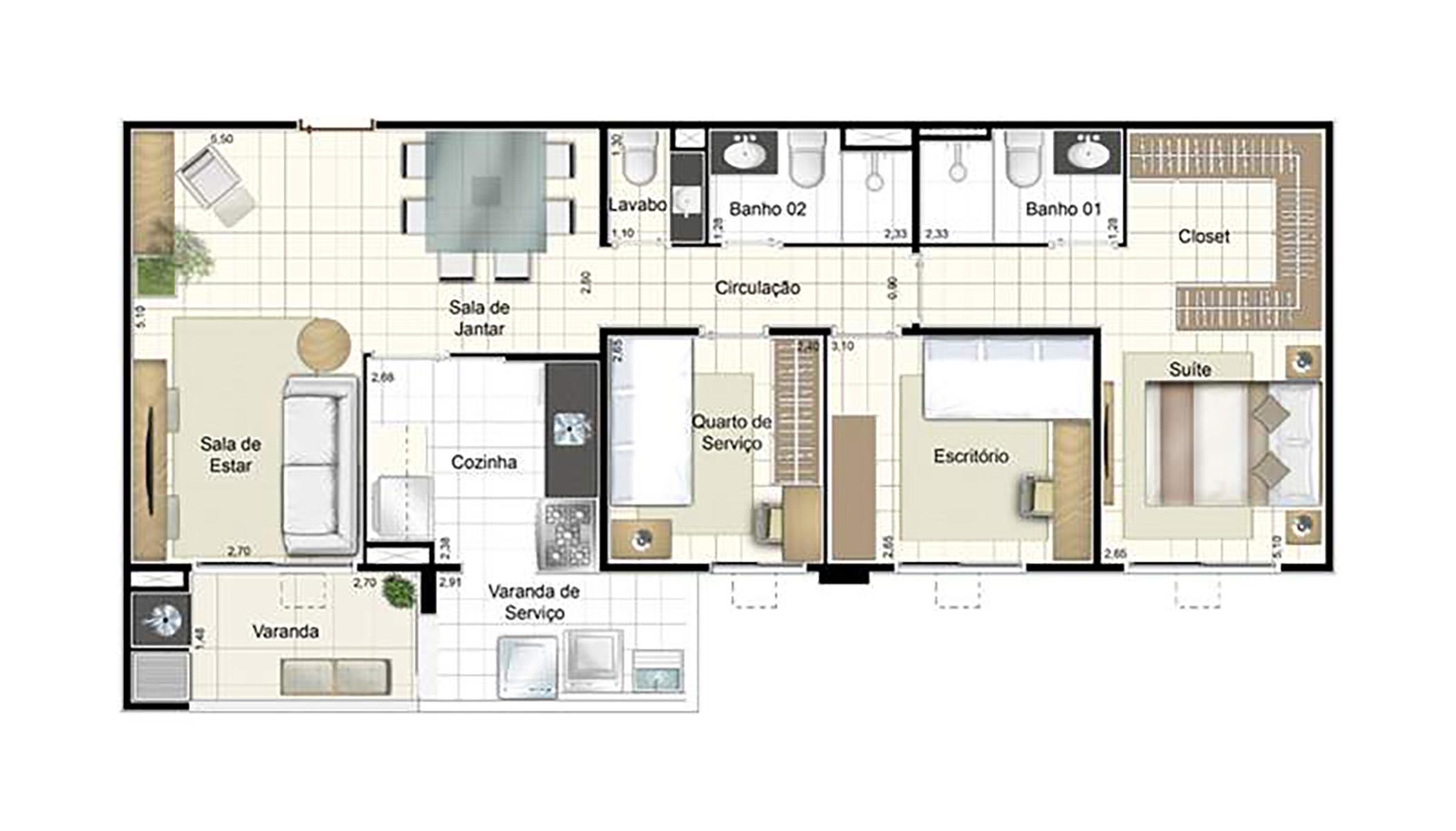 Ilustração Artística da Planta de 87 m² opção 1 Admira Iracaí