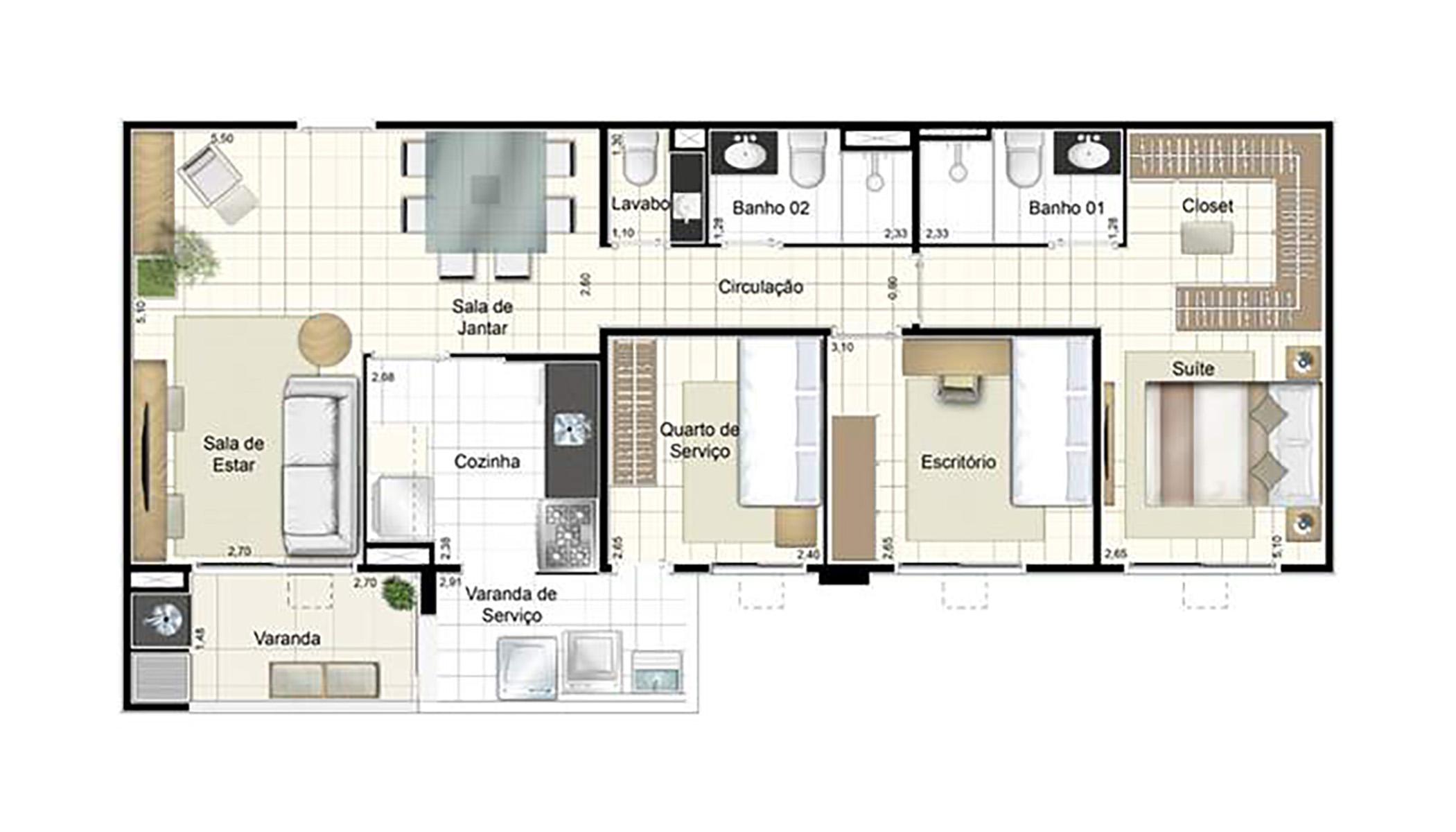 Ilustração Artística da Planta de 87 m² padrão Admira Iracaí