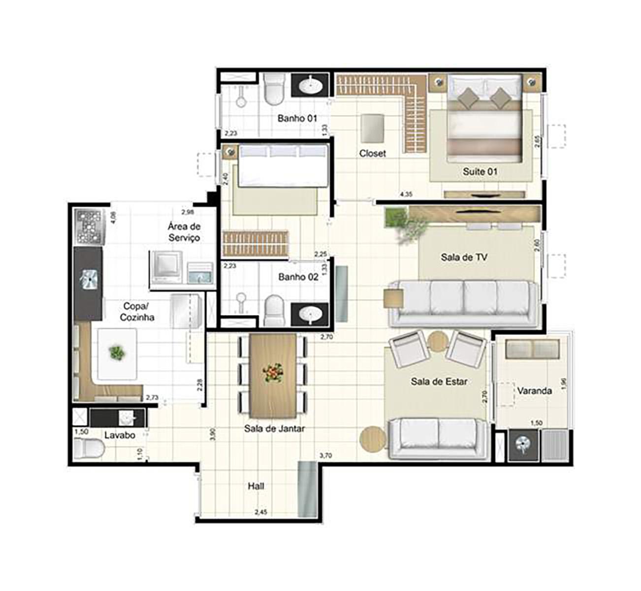 Ilustração Artística da Planta de 81 m² opção 1 Admira Iracaí