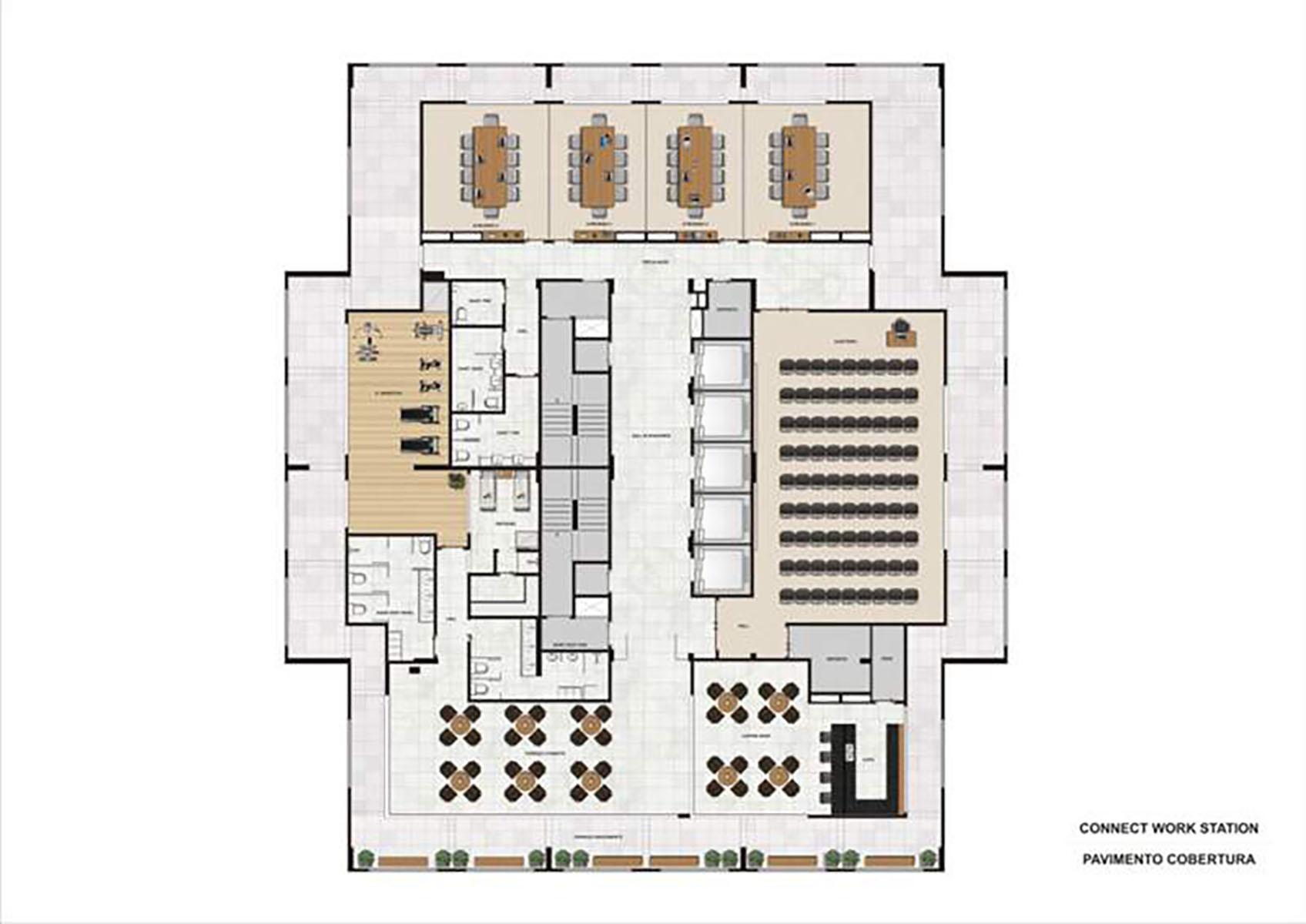 Ilustração Artística da Planta do Pavimento da Cobertura Connect Work Station