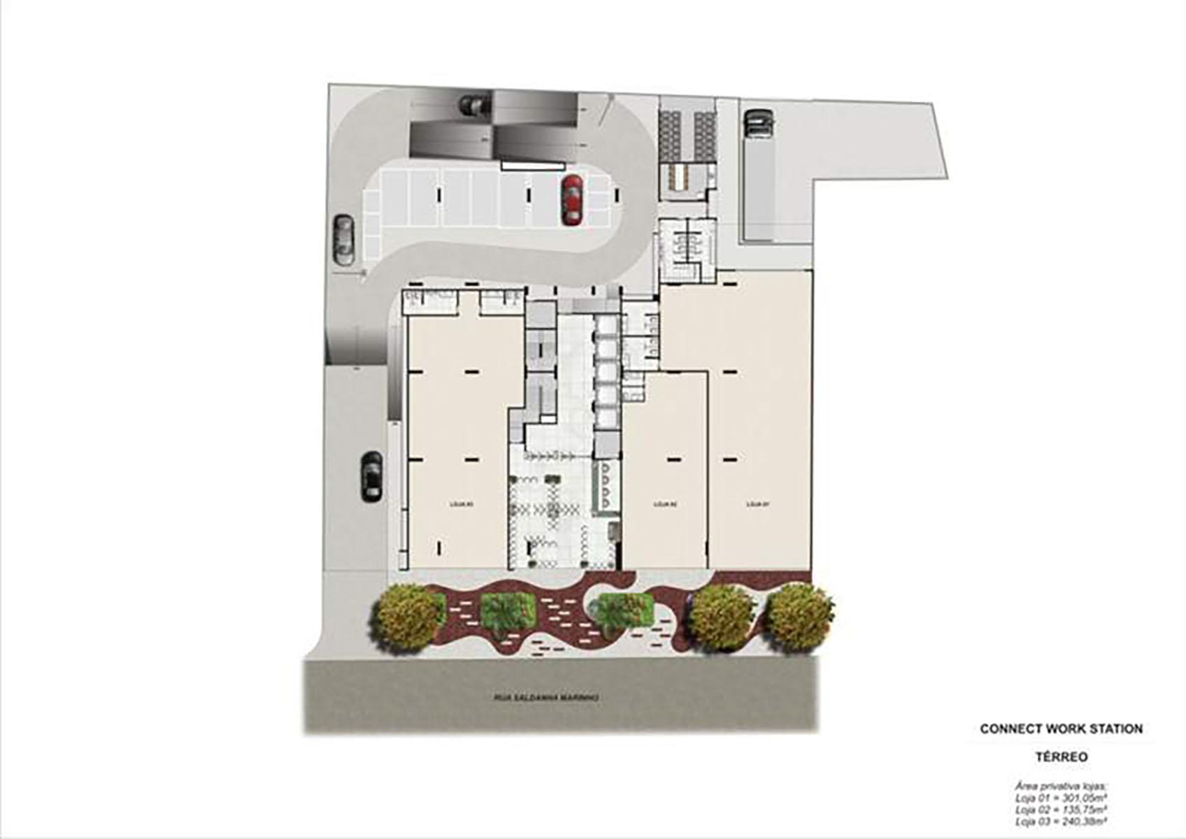 Ilustração Artística da Planta do Térreo Connect Work Station