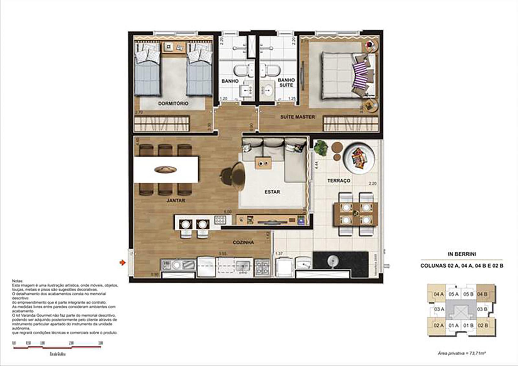 Ilustração Artística da Planta de 73 m² Sala Ampliada opção 1 In Berrini