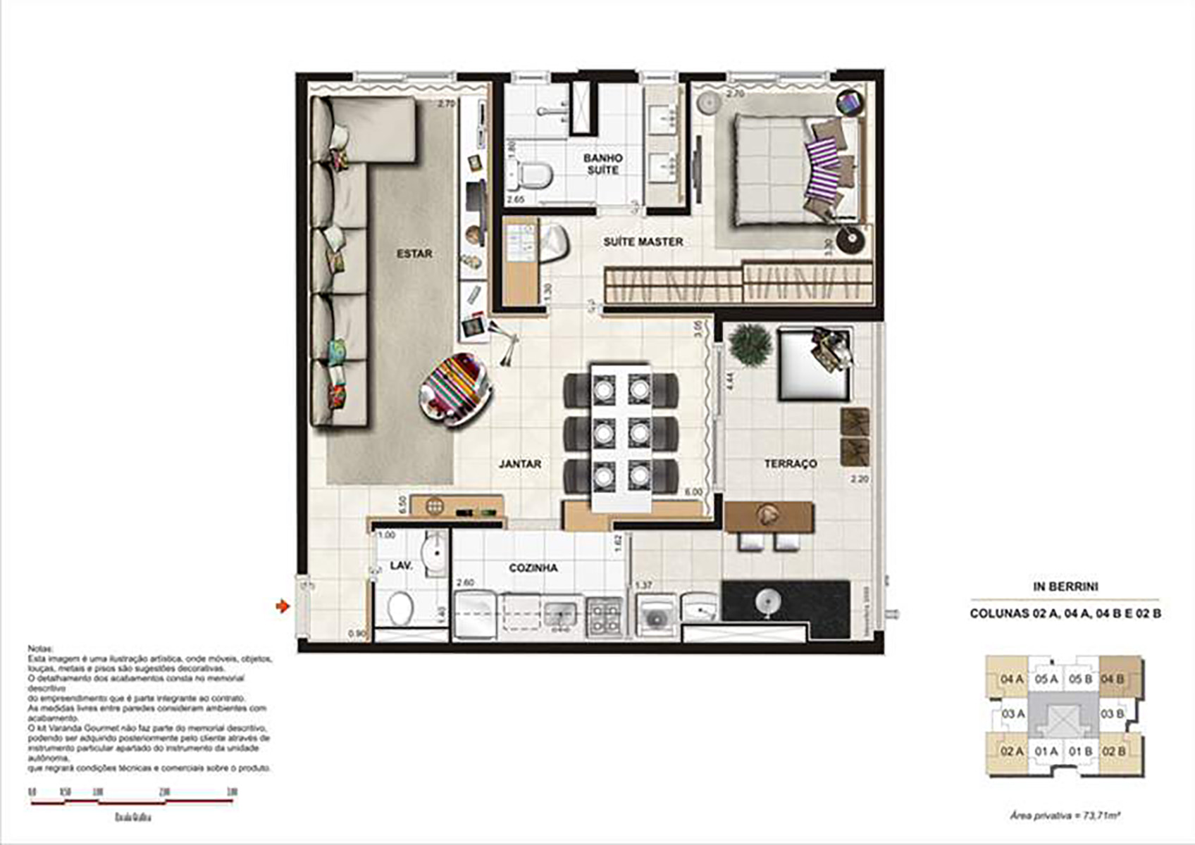 Ilustração Artística da Planta de 73 m² Sala Ampliada opção 2 In Berrini