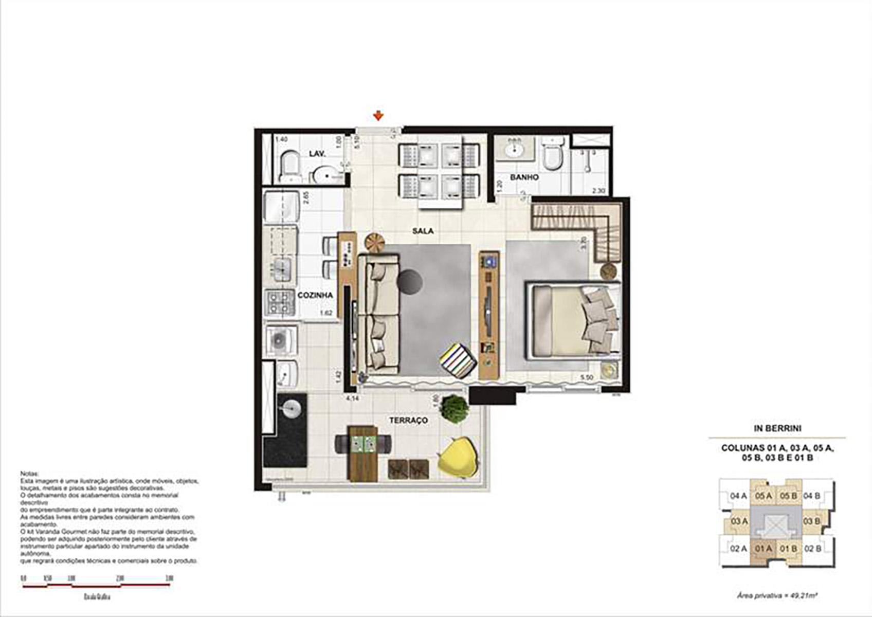Ilustração Artística da Planta Studio 49 m² In Berrini