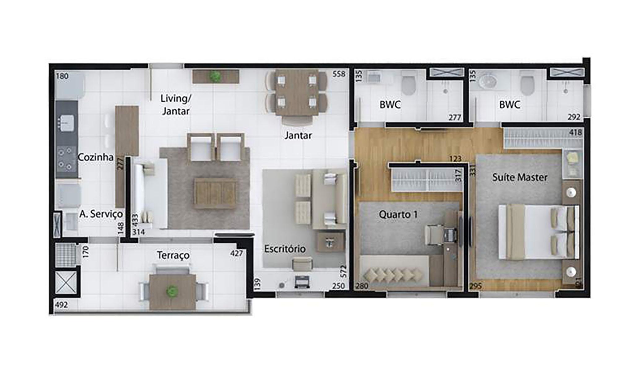 Ilustração Artística da Planta de 85 m², com 2 dorms. (sala ampliada) Set Cabral