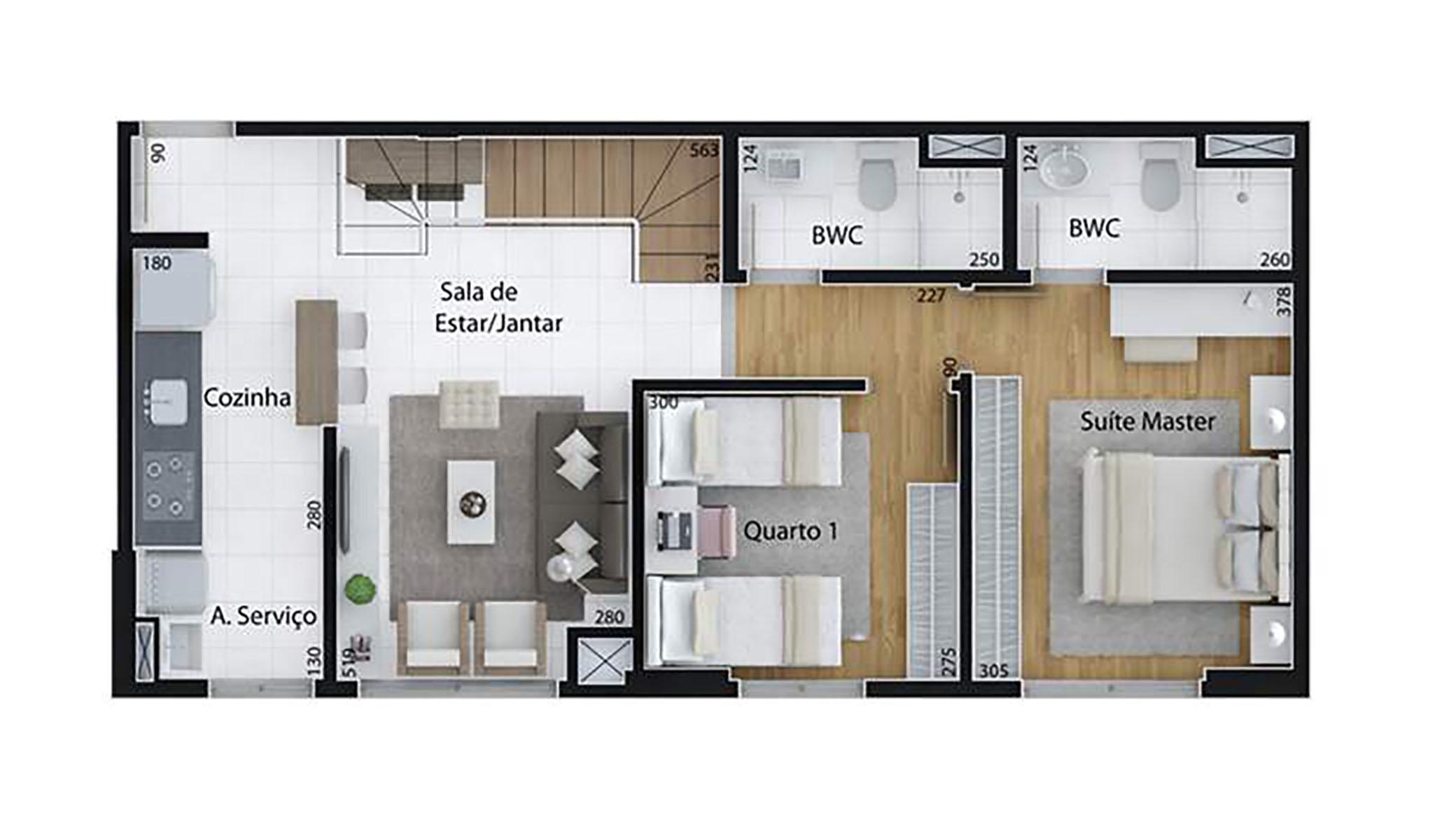 Ilustração Artística da Planta de 123 m², com 2 dorms. (duplex, piso inferior) Set Cabral