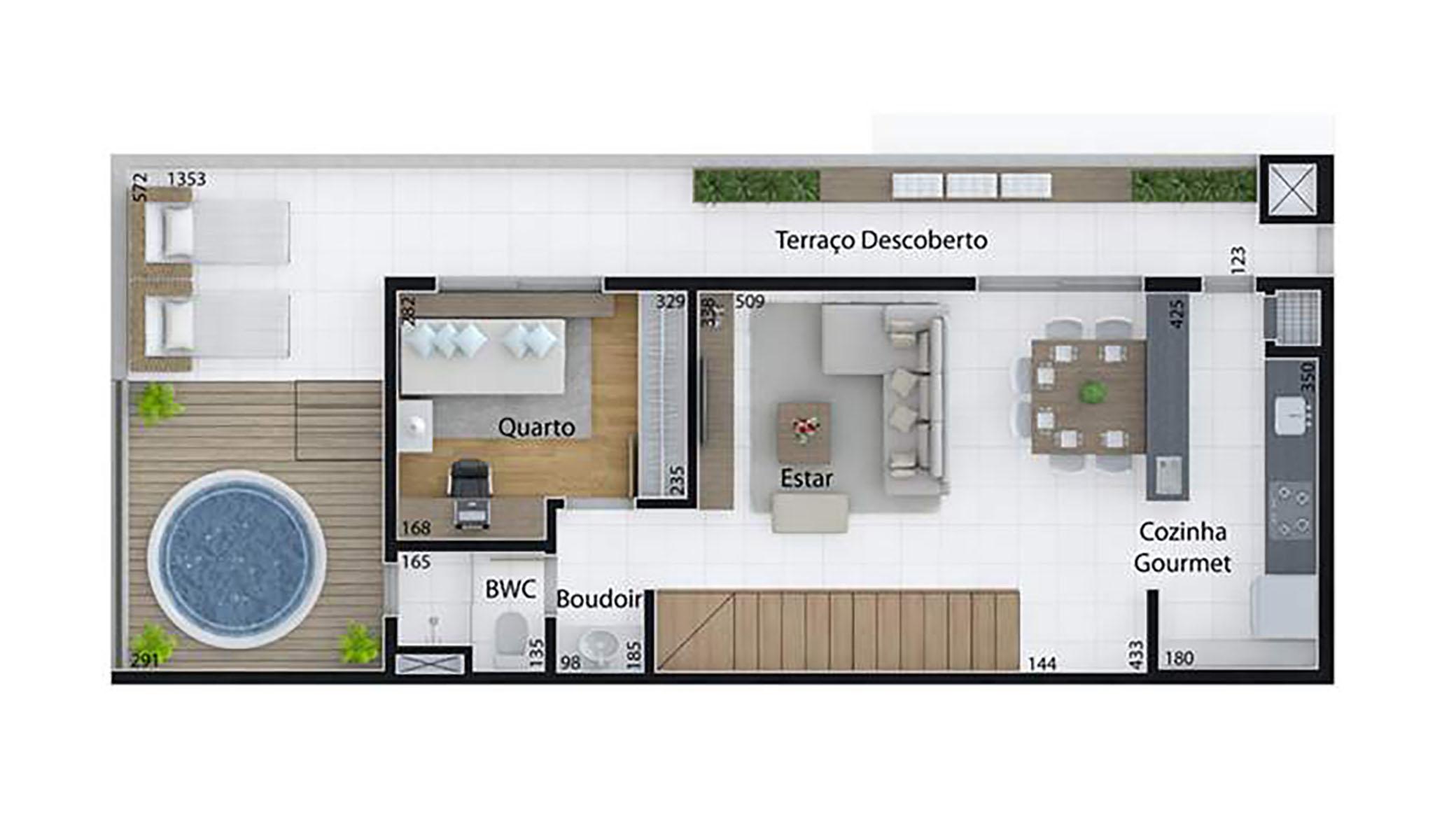 Ilustração Artística da Planta de 166 m², com 3 dormitórios (duplex, piso superior) Set Cabral