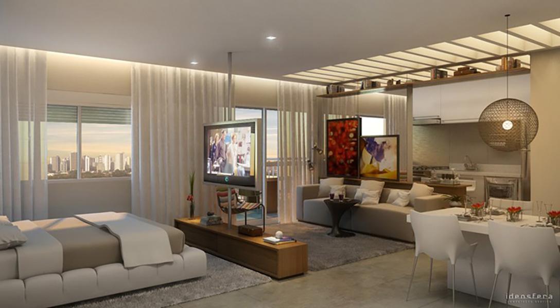 Perspectiva Ilustrada do Living 49 m² In Berrini