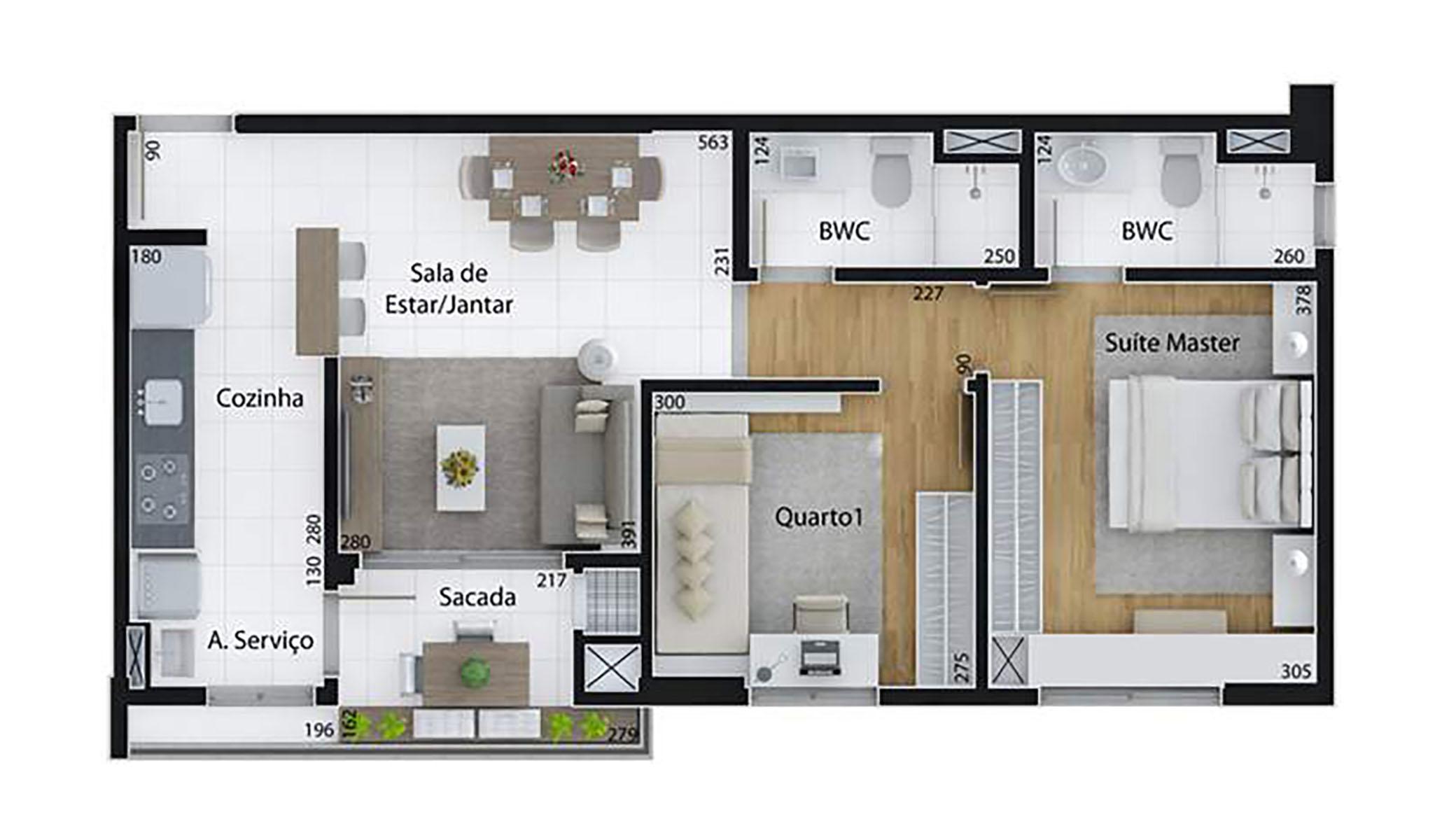 Ilustração Artística da Planta de 64 m², com 2 dorms. (tipo) Set Cabral