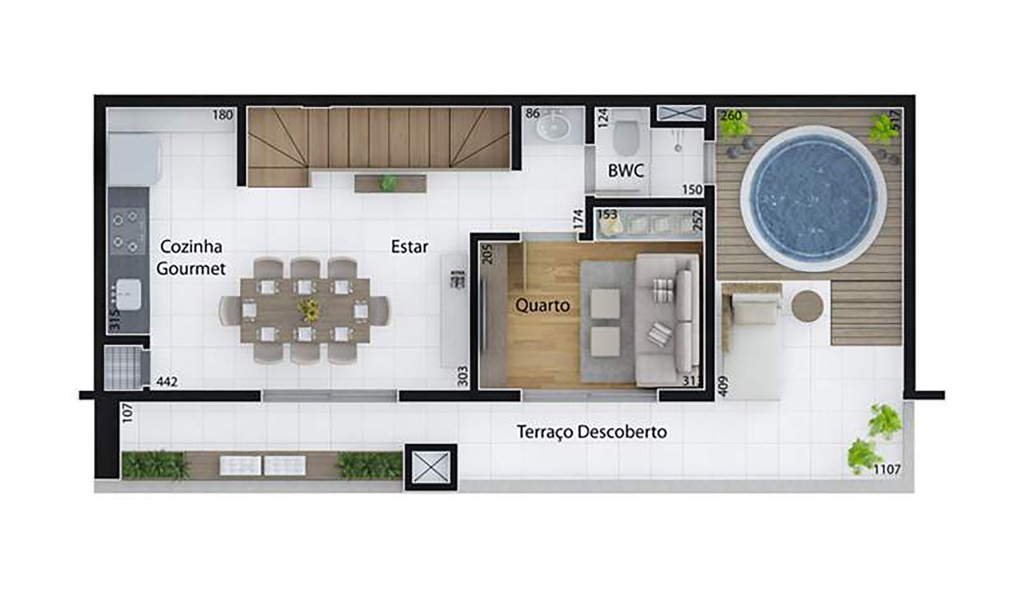 Ilustração Artística da Planta de 123 m², com 2 dorms. (duplex, piso superior) Set Cabral