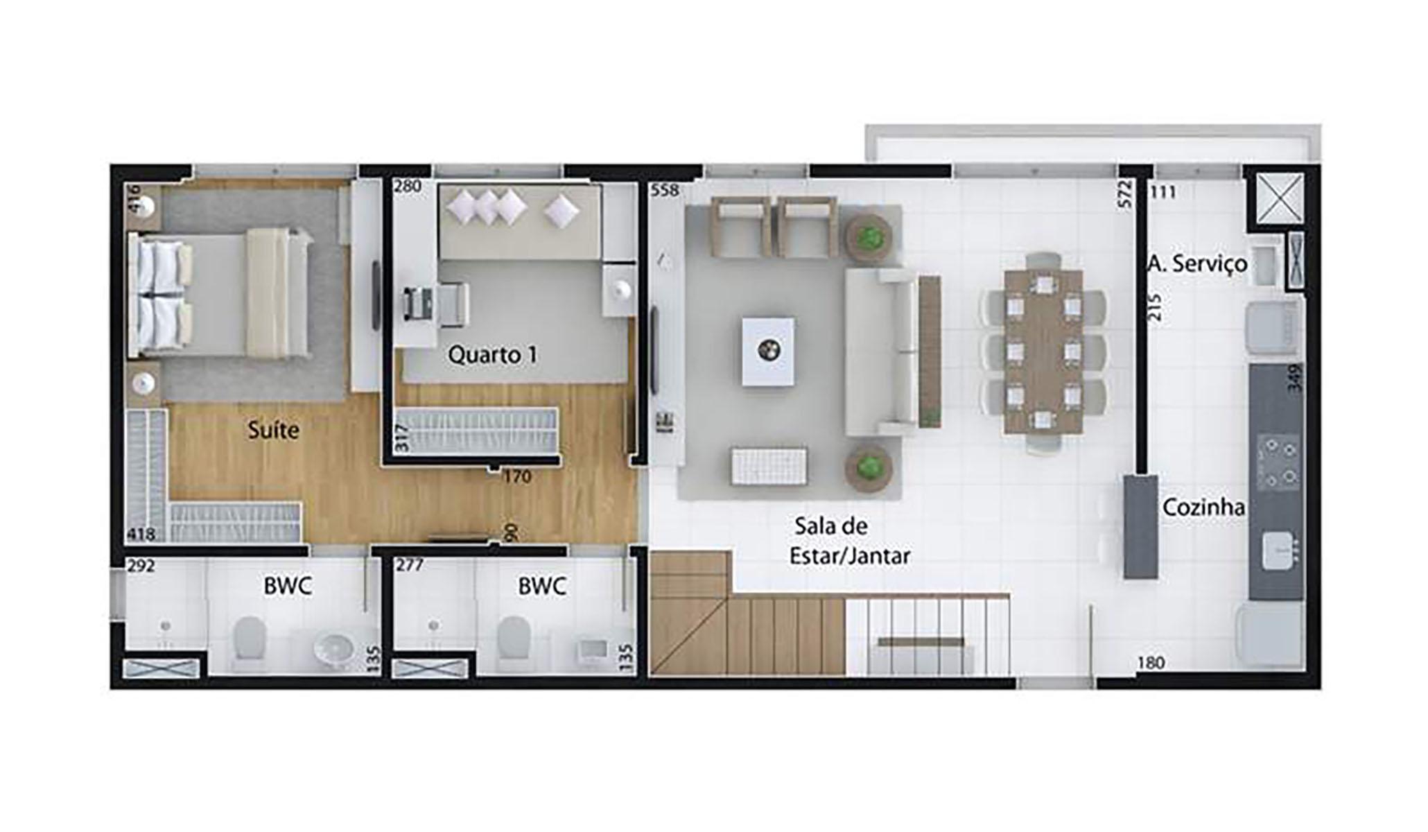 Ilustração Artística da Planta de 166 m², com 3 dorms. (duplex, piso inferior) Set Cabral