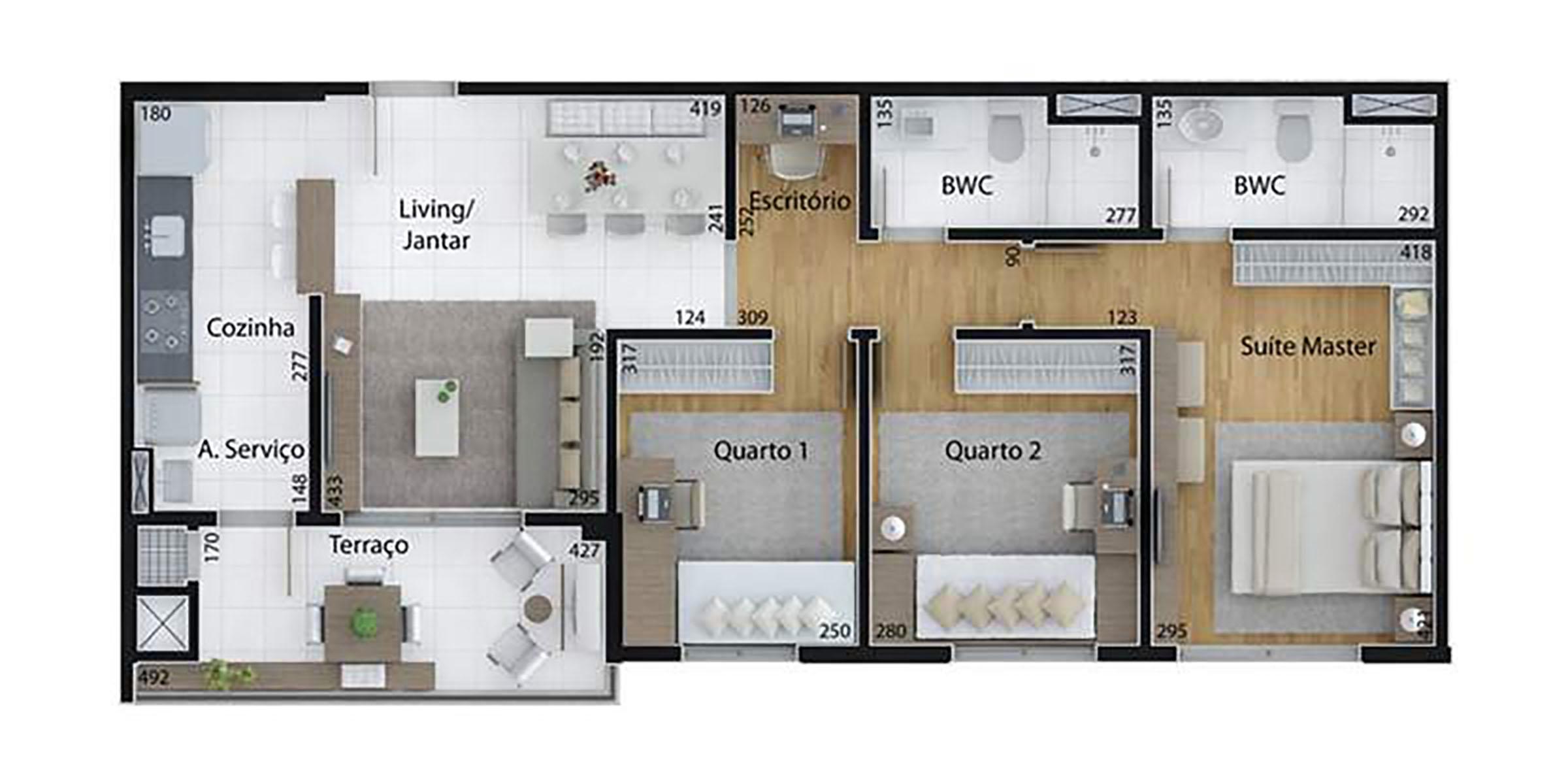 Ilustração Artística da Planta de 85 m², com 3 dorms. (tipo) Set Cabral