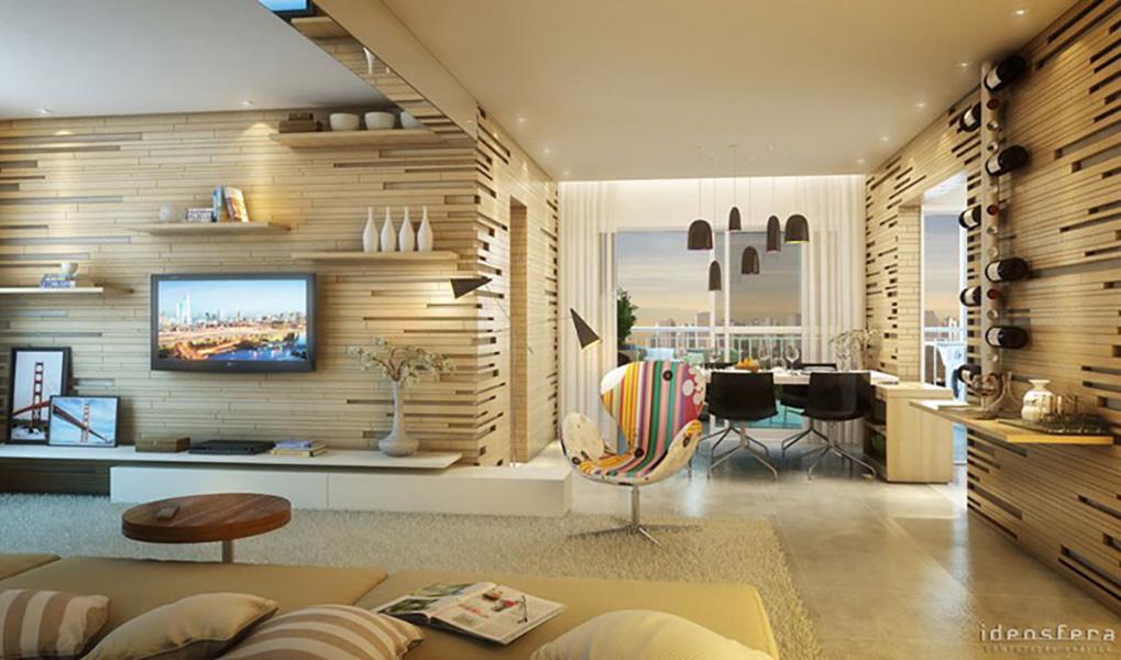 Perspectiva Ilustrada do Living Ampliado 73 m² In Berrini