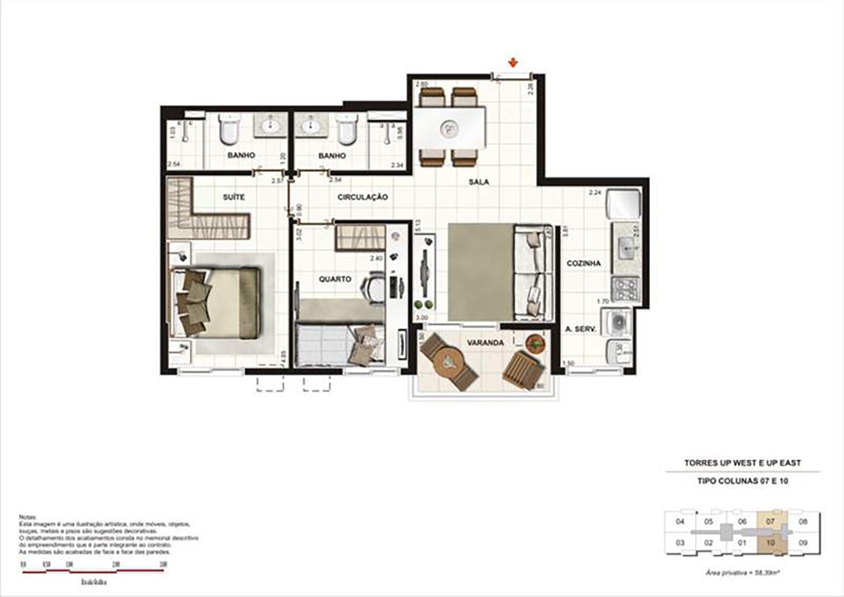 Ilustração Artística da Planta 58 m² tipo 2 Up Residence
