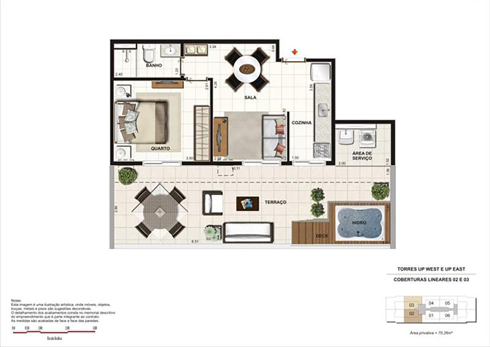 Ilustração Artística da Planta da Cobertura de 70 m² tipo 1 Up Residence