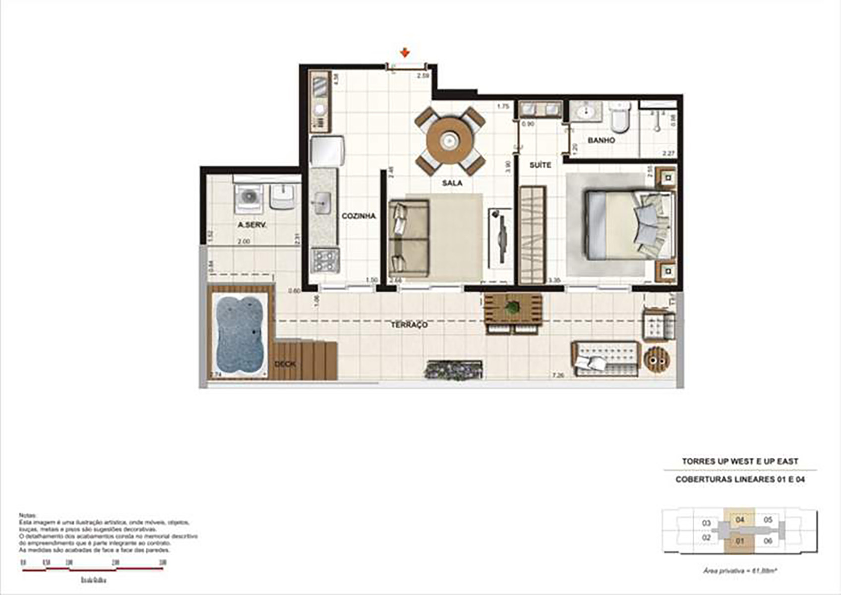 Ilustração Artística da Planta 61 m² tipo 1 Up Residence
